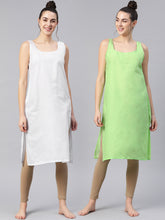 Load image into Gallery viewer, Saadgi Women Green & White Pack of 2 Pure Cotton Solid Slips