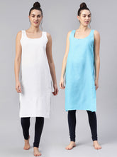 Load image into Gallery viewer, Saadgi Women Sky Blue & White Pack of 2 Pure Cotton Solid Slips