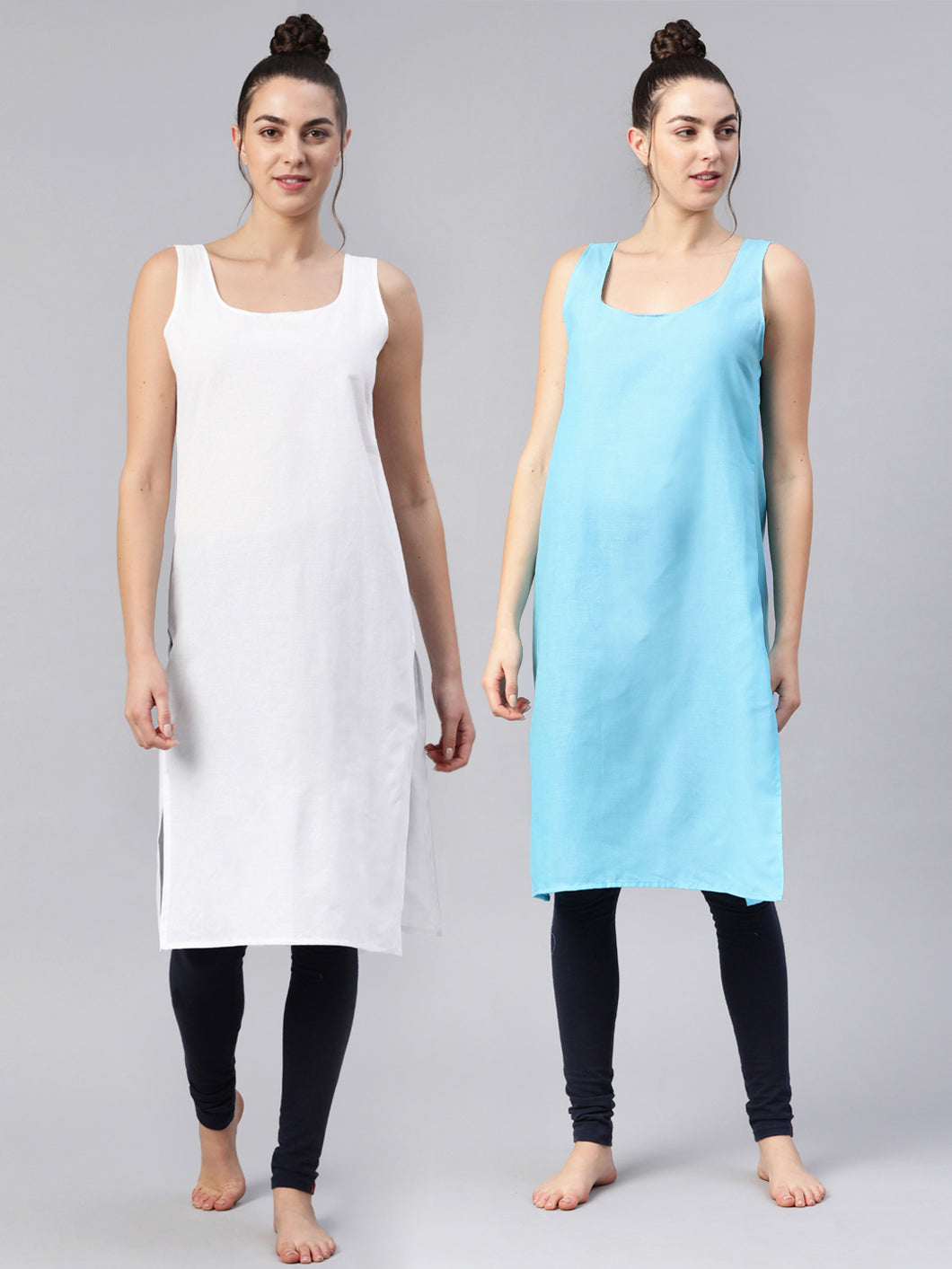 Saadgi Women Sky Blue & White Pack of 2 Pure Cotton Solid Slips