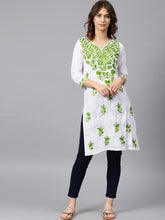 Load image into Gallery viewer, Saadgi Aari EmbroideredWhite Lucknowi Chikan Kurta-SIWH623