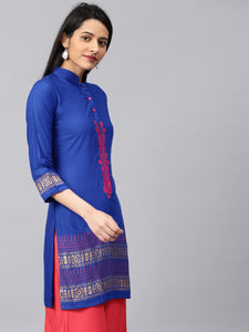 Saadgi Rayon Embroidered Block Print Kurta