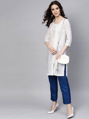 Saadgi Chikankari Handwork with Mukaish work Kurta