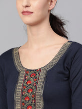 Load image into Gallery viewer, Saadgi Embroidered Navy Winter Kurta-SZW88WENAV