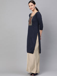 Saadgi Embroidered Navy Winter Kurta-SZW88WENAV