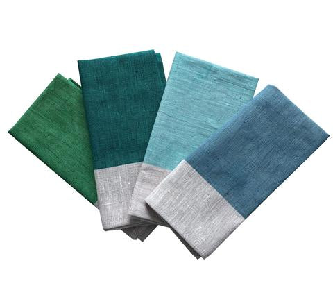 Must-have hand painted colourblock panel napkins in shades of blue, green and aqua on 100% natural linen (4pcs) by Aqua Door Designs.