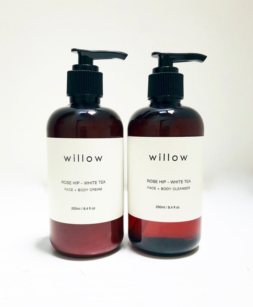 This organic, vegan Luminous Skin Duo, Face and Body Cleanser and Face and Body Cream from Willow Tree Skincare infused with Lavender and Rose Geranium.