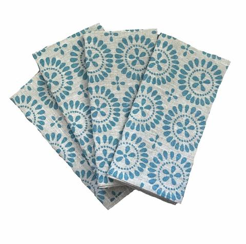 The most beautiful Blue Eyelet Linen Napkins (set of 4) from Aqua Door Designs