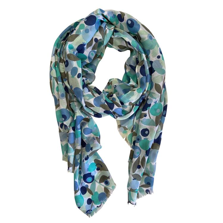 This gorgeous colourful aqua light weight scarf designed for year round use by Greenwood Designs.