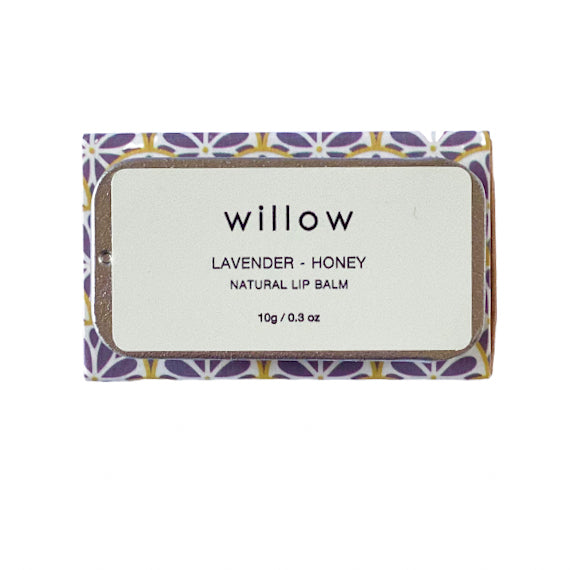 Lavender and Honey Natural Lip Balm by Willow Tree Skincare is a vegan lip salve infused with essential oils, and perfectly presented in a sliding tin. Note: contains almond nut oil.