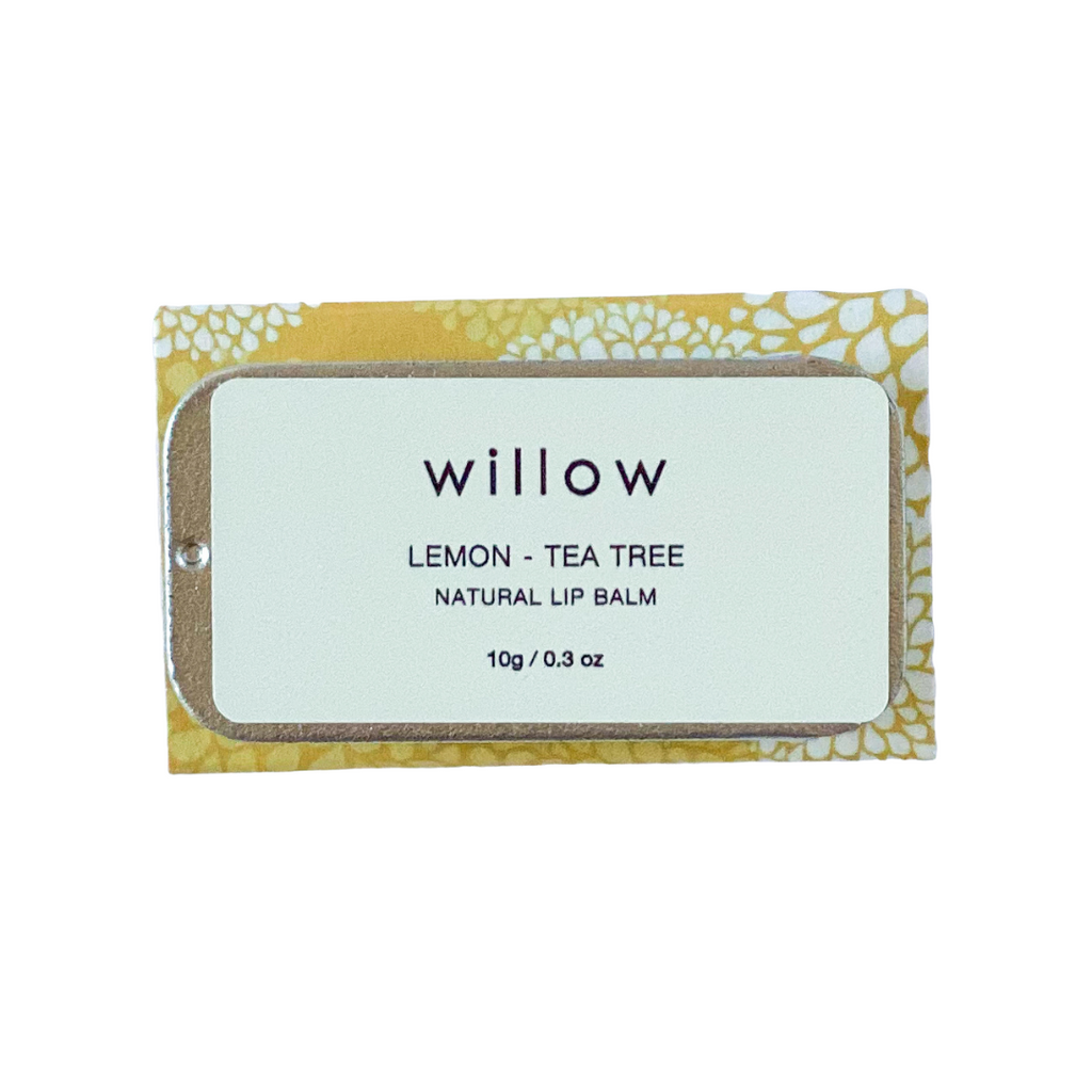 Lemon and Tea Tree Natural Lip Balm by Willow Tree Skincare is a vegan lip salve infused with essential oils, and perfectly presented in a sliding tin. Note: contains almond nut oil.
