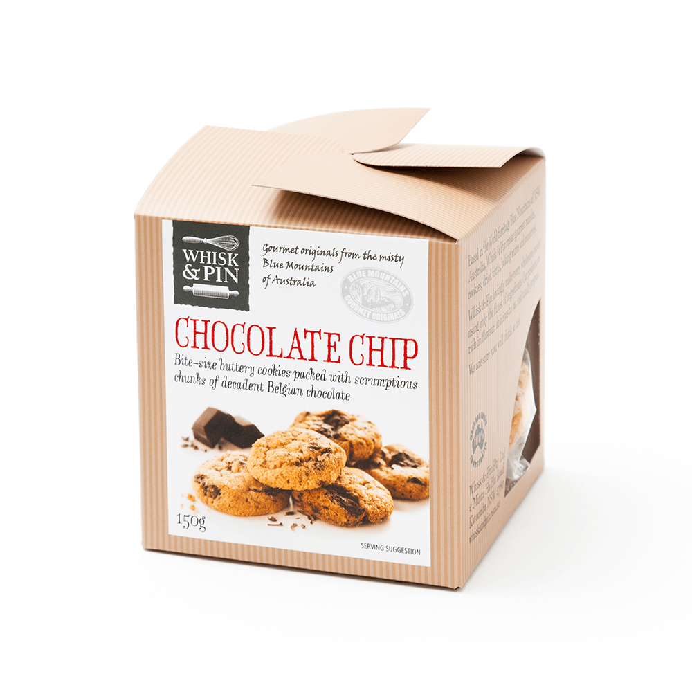 Bite-size choc chip cookies by Whisk and Pin