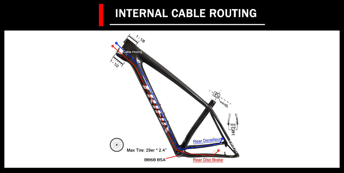 29er lightweight carbon mtb hardtail boost frame internal cable routing