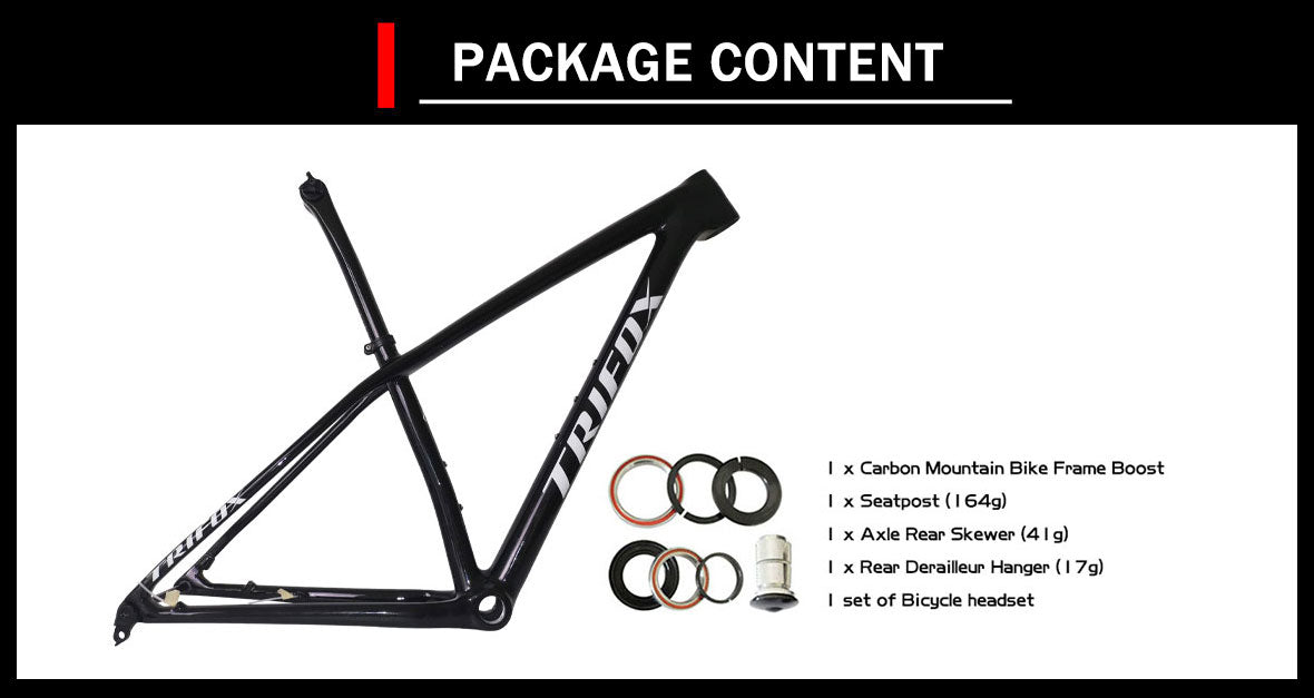 29er lightweight carbon mtb hardtail boost frame SDY20 package content