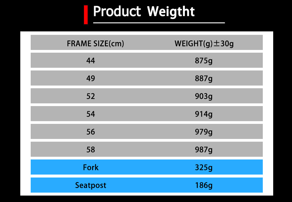The Weight Details of Carbon Road Bike Frameset X16 Quick Release Version