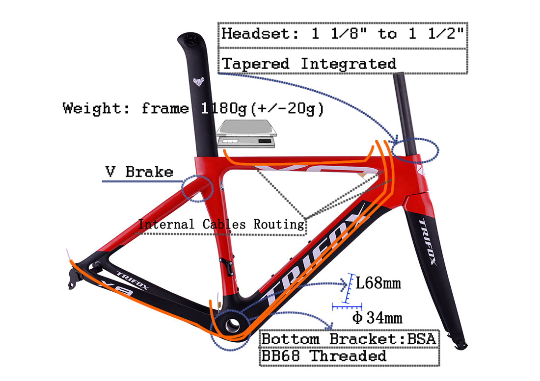 Carbon Fiber Road Bike Frameset X8 Structure