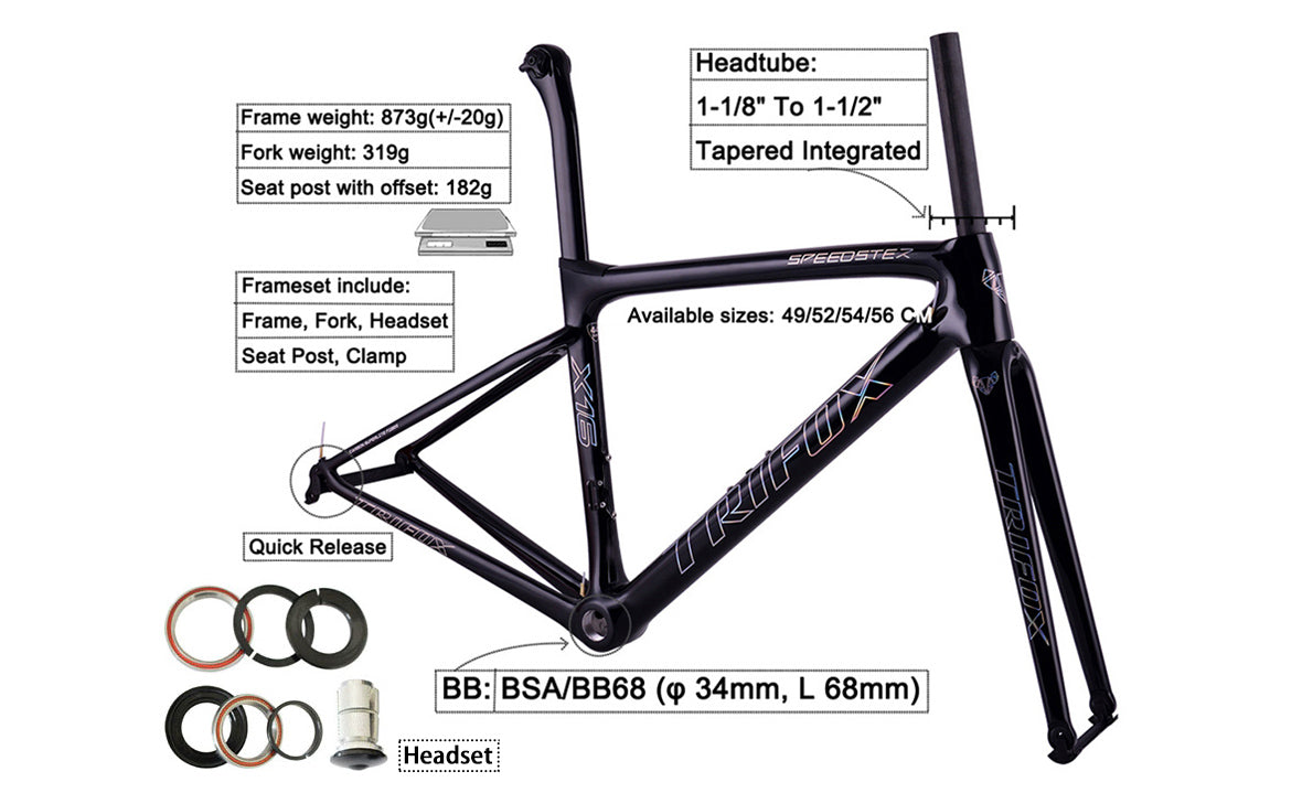 Carbon Fiber Speedster Road Bike Frameset X16 Structure