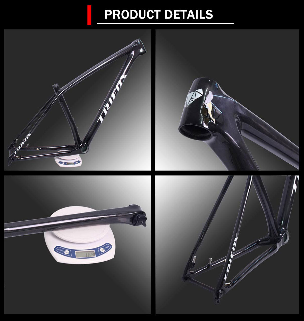 Deatails of Trifox 29er Lightweight Carbon MTB Hardtail Boost Frame SDY20