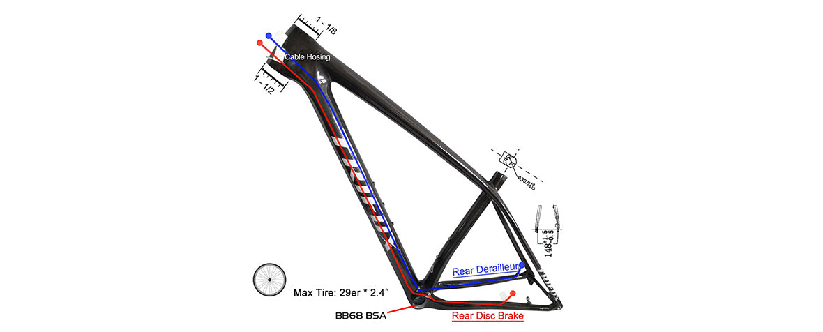 carbon fiber mountain bike hardtail boost frameset SDY20 cable routing