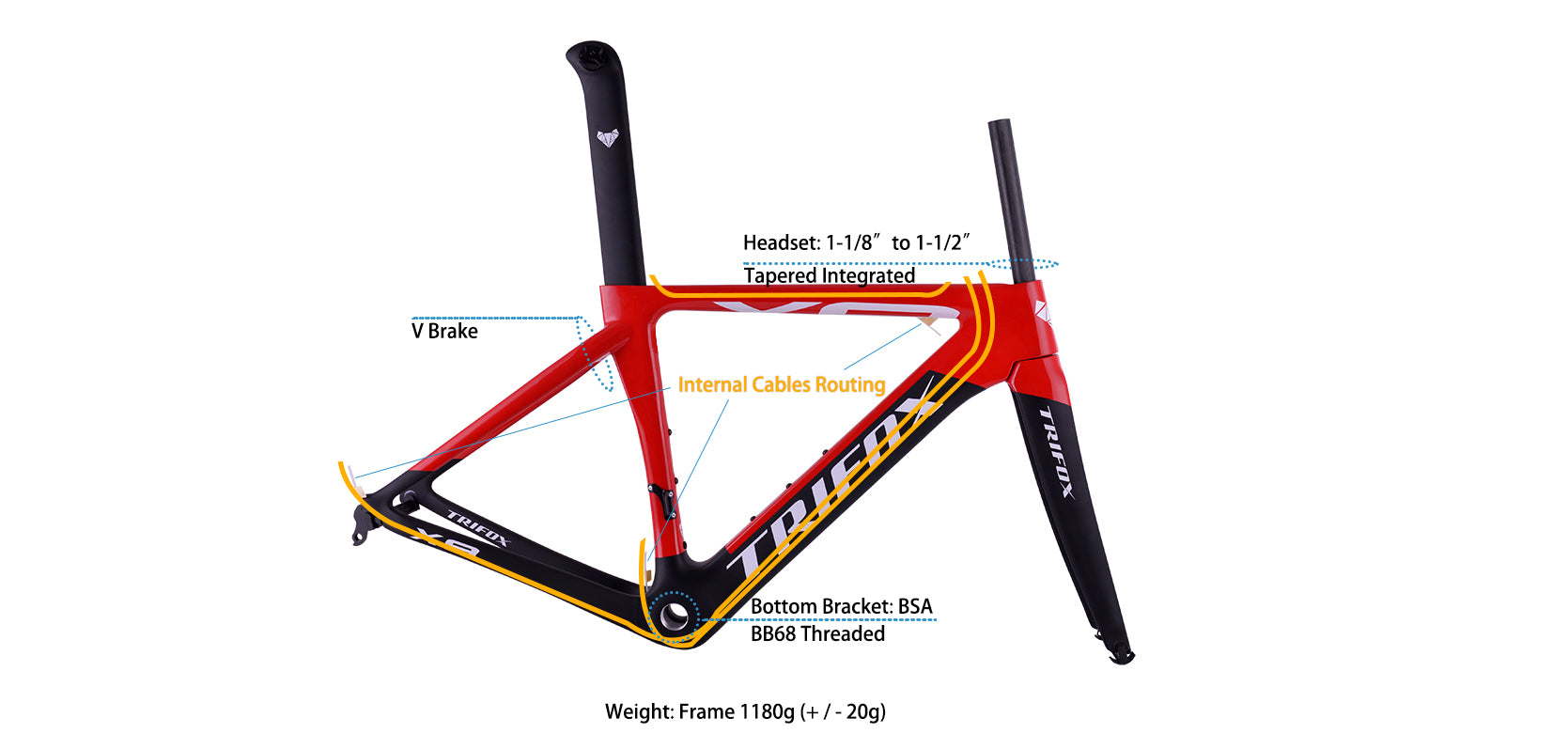 Carbon Road Bike Frameset X8 Parameter