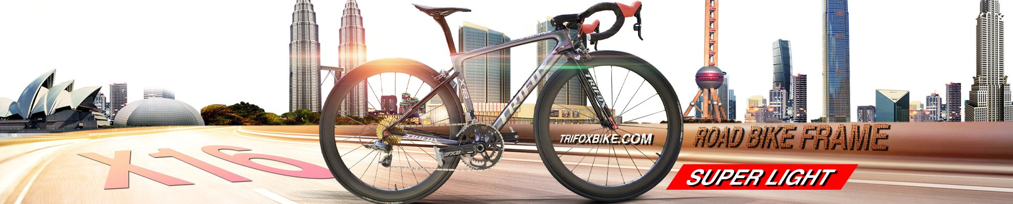Trifox 700x28C Full Carbon Road Bike Frameset X16 Quick Release