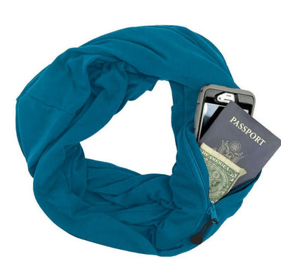 Multi-function Storage Zipper Scarf Multi-color Optional