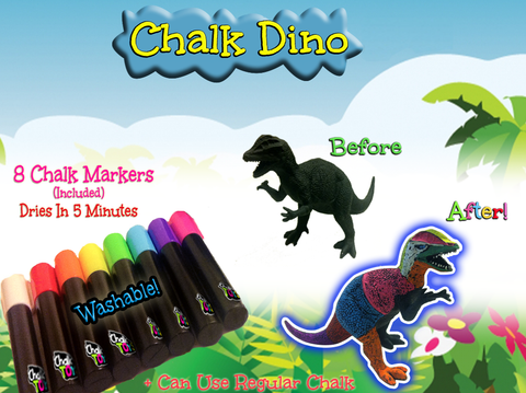 [Special Price] Chalk Dinos (2) plus 8 Washable Chalk Markers