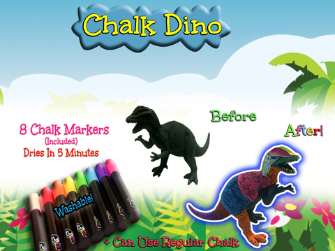 Chalk Dinos (2) plus 8 Washable Chalk Markers