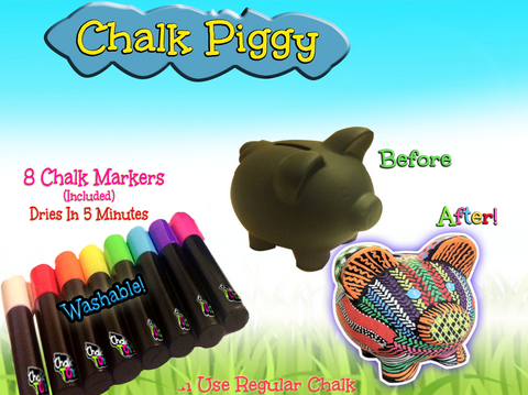 [Special Price] Chalk Piggy Bank plus 8 Washable Chalk Markers