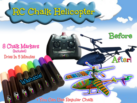 [Special Price] RC Chalk Helicopter plus 8 Washable Chalk Markers