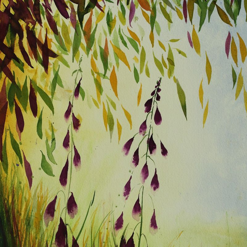 'Fairy Bells and Trees'  Original Watercolour Mixed Media painting
