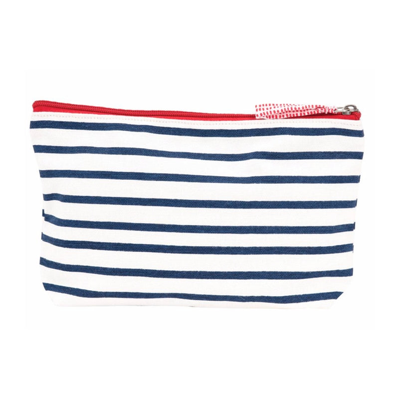 Bateau Stripe Navy Blue Canvas Pouch