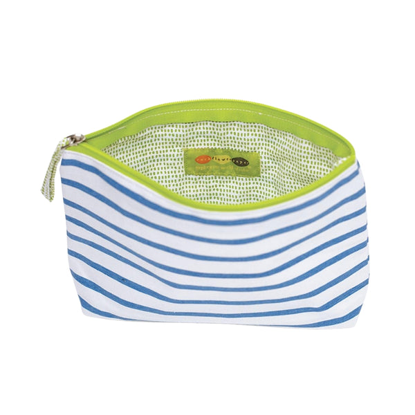 Bateau Stripe Sky Blue Canvas Pouch