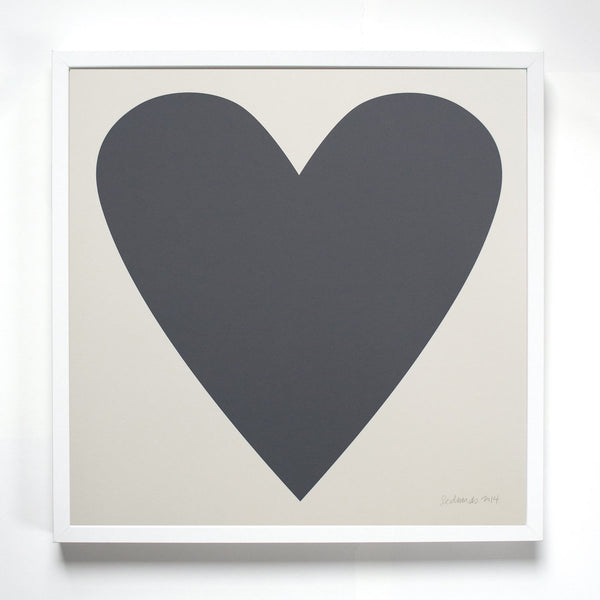Dove Grey Pink Heart Signed Art Print