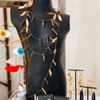 Greek Flowing Leaves Layered Necklace