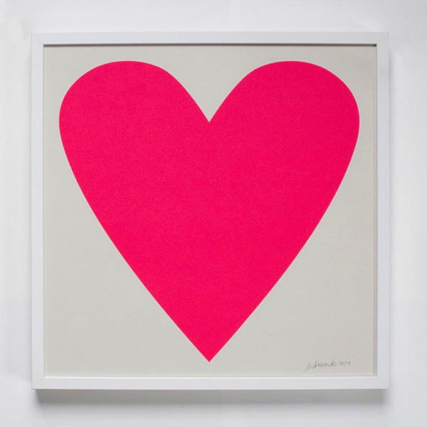 Neon Hot Pink Heart Signed Art Print