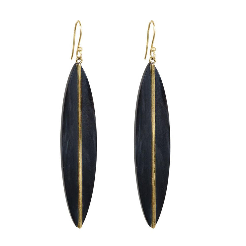 Horn and Brass Leaf Earrings