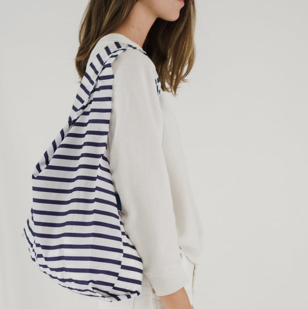 Reusable Blue Sailor Stripe Tote