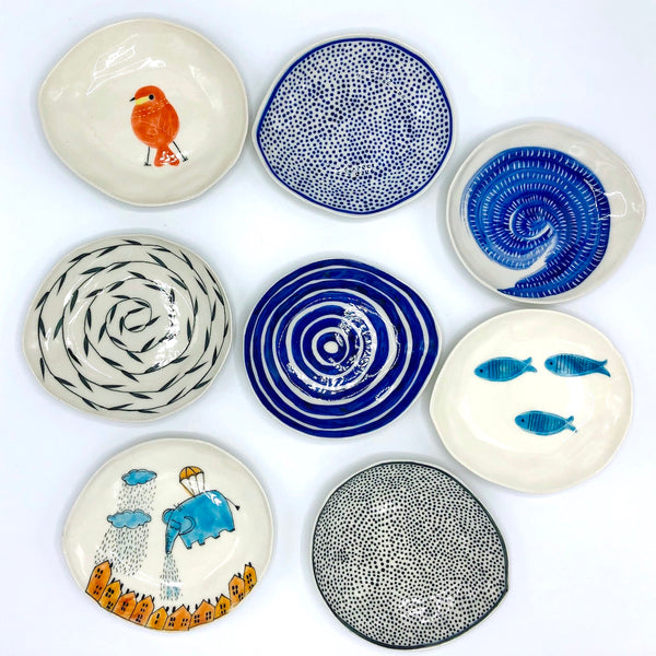 Blue Circles Cake Plate