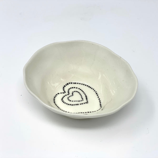 Black Dot Heart Medium Bowl