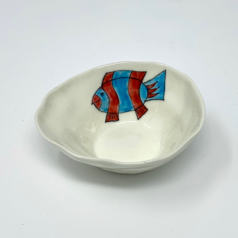 Red and Blue Striped Medium Bowl