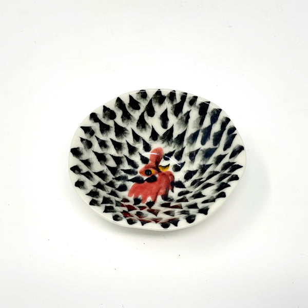 Black Drops Rooster Medium Bowl