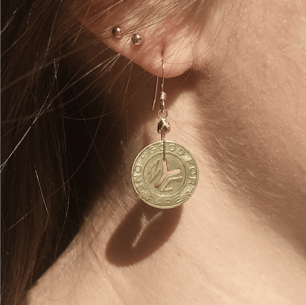 Subway Token Vintage NYC Earrings