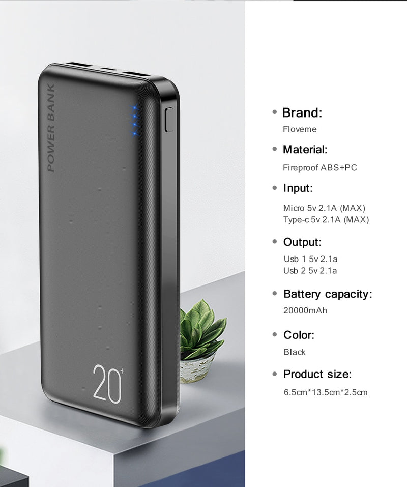 FLOVEME 20000 mAh Power Bank White Black