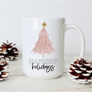 Sweet Mint Handmade Goods - 15oz mug, Happiest Holidays with Pink Christmas Tree, Modern