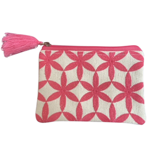 Cotton Pouch Pink White Circle Diamonds