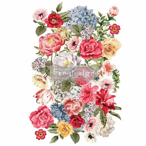 "Redesign with Prima Transfer - Wondrous Floral II 23.5"" x 36"" Redesign Decor Transfer - Rub on Decal"