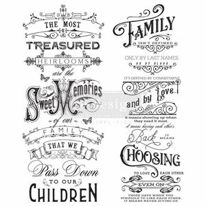 "Redesign with Prima Transfer - Family Heirlooms - 21.8"" x 27"" Redesign Decor Decal"