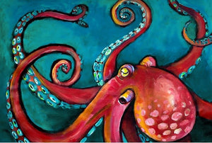 "Octopus  20"" x 30"" - Roycycled Treasures Decoupage Tissue Papers"