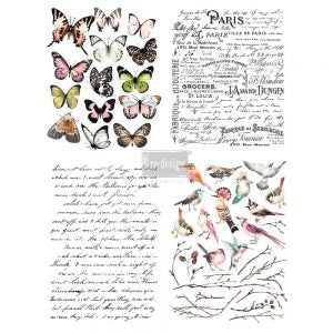 "Parisian Butterflies 11 x 15"" Redesign with Prima Rub on Decal Decor Transfer"