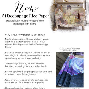 REDESIGN A1 DECOUPAGE RICE PAPER (MULBERRY TISSUE PAPER) – PEACEFUL  23.4″X33.1″